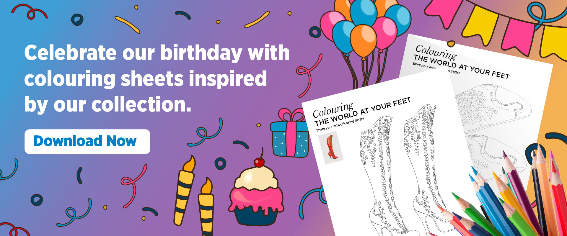 Celebrate our birthday with colouring sheets