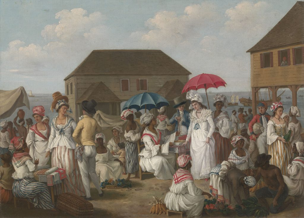 Agostino Brunias, Linen Market, Dominica (1780), oil on canvas, 49.8 x 68.6 cm., B1981.25.76, Paul Mellon Collection, Yale Center for British Art, New Haven.